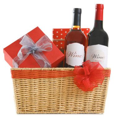 gift baskets with wine and a box of chocolate